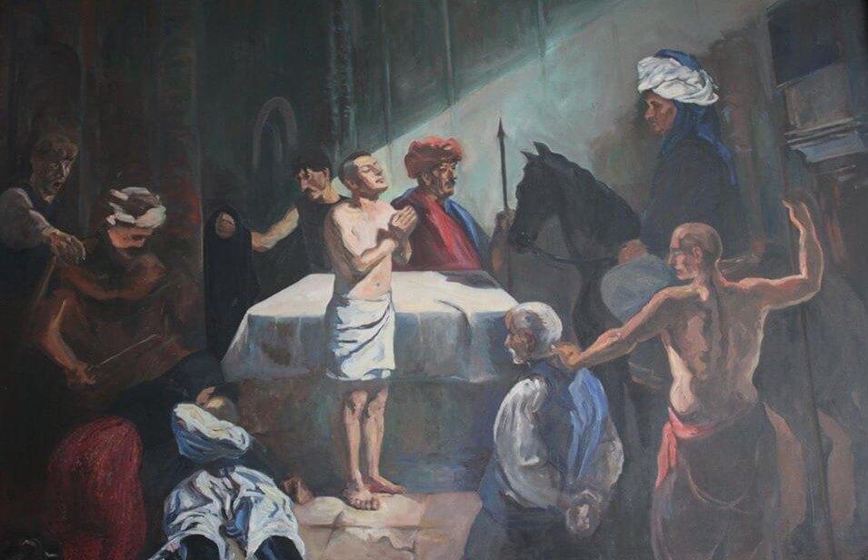 A széki Bertalan, Juhos-Kiss Sándor széki származású, Budapesten élő, Barcsay-díjas festőművész munkája, 1996 (készült Kocsis Ferenc és Sipos Márton anyagi támogatásával).